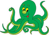 Green octopus — Stock Vector