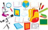 Objetos de la escuela — Vector de stock