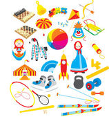 Toys and sporting accessories — Stock Vector