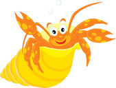 Sea crawfish in his shell — Stock Vector