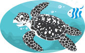 Marine loggerhead turtle and striped fish — Stock Vector