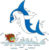 Shark and diver — Stock Vector