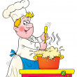 Chef stirring a pot of foaming soup — Foto de Stock