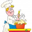 Chef stirring a pot of foaming soup — Stockfoto