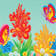 Stock Photo: Colorful butterflies exploring in flower garden.