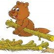 Happy brown beaver carrying one log from a pile — Stock Photo #31115299