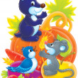 Cute mouse, gopher and bird  — Stock Photo