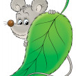 Mouse standing behind a green leaf — Stock Photo