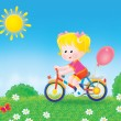 Blond girl riding a bicycle outside. — Stock Photo