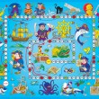 Stockfoto: Blue pirate board game.