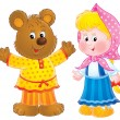 Happy bear in clothes, standing by a little blond girl — Stock Photo
