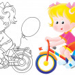 Girl riding a bicycle — Stock Photo