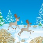 Two caribou reindeer running through snow — Stock Photo