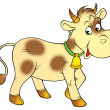 Pale yellow cow with brown spots, wearing a bell. — Stock Photo