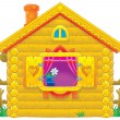 Stock Photo: Cute log cabin with purple drapes