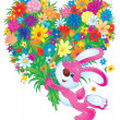 Bunny rabbit carrying a large heart shaped floral bouquet — Stock Photo #31115815