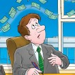 Money floating above a businessman — Stock Photo