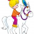 Stock Photo: Little blond girl riding a white horse