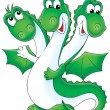 Friendly green three headed dragon — Stock Photo