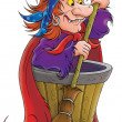 An evil witch standing by a barrel with a broom — Stock Photo