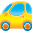Yellow compact car with blue tires — Foto de Stock