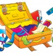 Clutter around an open suitcase — Stock Photo