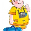 Friendly chubby male tourist wearing a camera — Stock Photo
