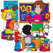 Stockfoto: Female school teacher teaching students alphabet