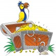Parrot perched on an open treasure chest — Lizenzfreies Foto