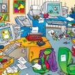 Foto Stock: Very messy office with clutter