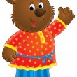 Friendly bear in clothes, waving and smiling — Stock Photo