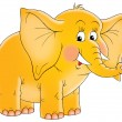 Cute yellow elephant with blushed cheeks and tusks — Stock Photo