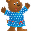 Happy bear in a blue polka dog dress — Stock Photo