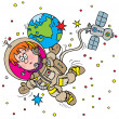 Boy floating in outer space as an astronaut — Zdjęcie stockowe