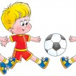 Three little boys running towards a soccer ball — Stock Photo