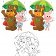 Bear and Piglet under the green umbrella — Stock Photo #31116355
