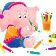 Artistic pink elephant sitting on the floor and drawing pictures — Stock Photo