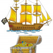 Stock Photo: Pirate ship and treasures chest