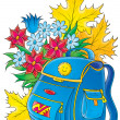 Blue backpack resting in front of autumn leaves  — Stock Photo