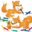 Two foxes playing with colored pencils. — Stock Photo
