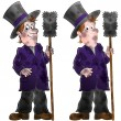 Dirty chimney sweep holding a brush — Stock Photo