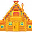 Log house with a vaulted roof — Stock Photo