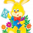 yellow rabbit in clothes — Stockfoto