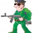 Soldier in green — Stock Photo