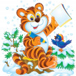 Smart tiger cub and bird in snow — Stock Photo #31116615