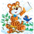 Smart tiger cub and bird in the snow — Stock Photo #31116615
