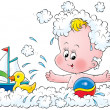 Happy baby splashing and playing with a toy boat — Stock Photo