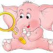 Stock Photo: Cute pink elephant holding magnifying glass