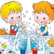 Stock Photo: Children making mess while washing their hands with soap
