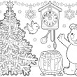 Bear and birds by christmas tree. — Stock Photo #31116721
